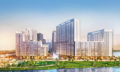 Phối cảnh dự án The Peak nhìn từ trục đường Tân Phú, quận 7, TP HCM.