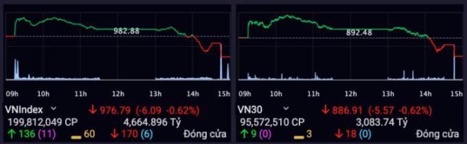 VN-Index mất mốc 980 sau khi giảm trên 6 điểm phiên hôm nay. Ảnh:SSI