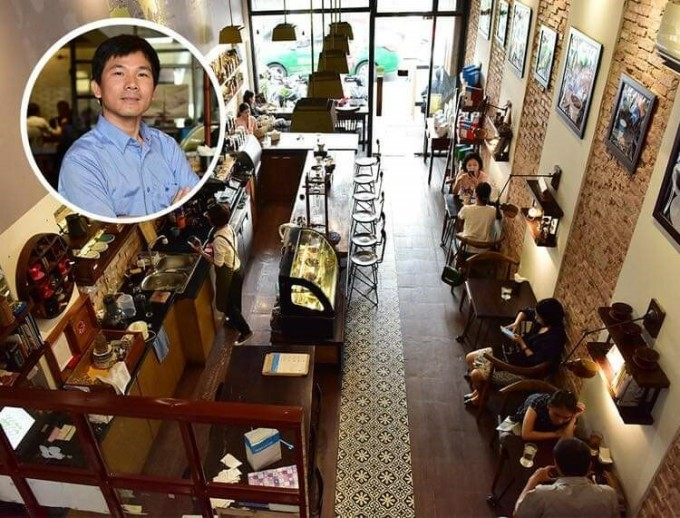Một không gian trải nghiệm tại chuỗi Shin Cà phê do CEO Nguyễn Hữu Long (ảnh nhỏ) sáng lập tại trung tâm TP HCM.
