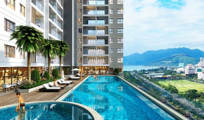Phối cảnh nội khu dự án Grand Center Quy Nhon với nhiều tiện ích và mảng xanh.