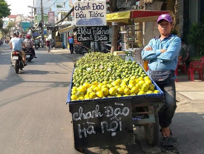 Chanh đào bán trên đường Thống Nhất (Gò Vấp). Ảnh: Hồng Châu.