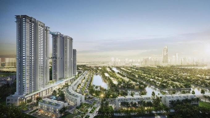 Đầu tháng 4, tập đoàn Ecopark công bố ra thị trường toà tháp đôi 41 tầng Sky Oasis thuộc khu quận đảo. Đây là dự án căn hộ cao cấp nhất của thành phố triệu cây xanh Ecopark.