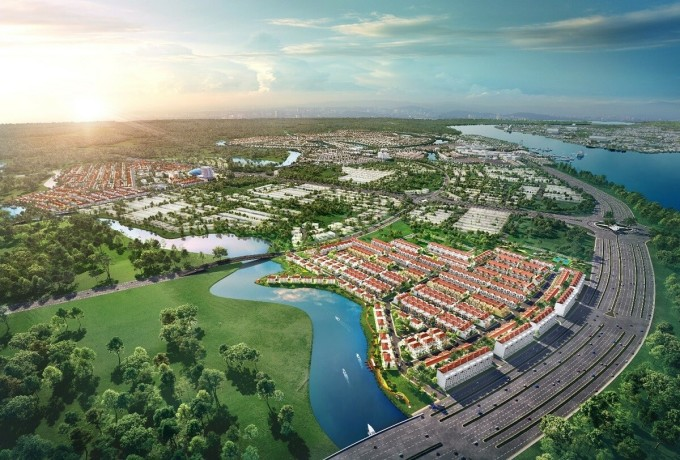 Không gian của phân khu River Park 1 tại Aqua City là tổng hòa của cây xanh và mặt nước.