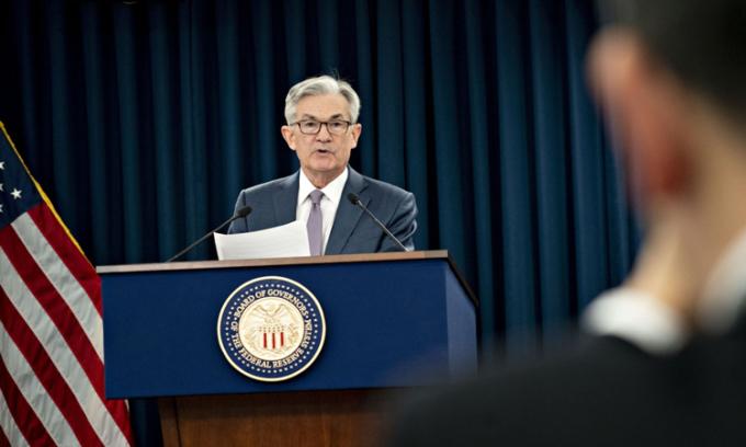 Jerome Powell, Chủ tịch Fed phát biểu trong một cuộc họp gần đây. Ảnh: Bloomberg.