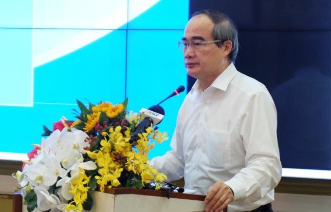 Ông Nguyễn Thiện Nhân phát biểu tại toạ đàm sáng 5/5. Ảnh: Trung tâm báo chí TP HCM.