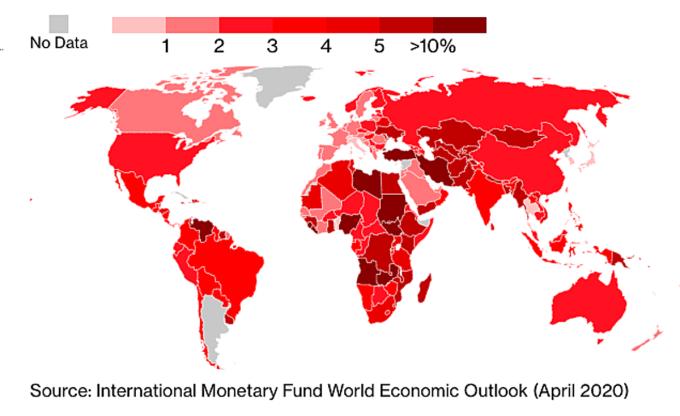 Bản đồ dự báo lạm phát đến cuối năm 2021 của ÌM đưa ra vào tháng 4/2020.