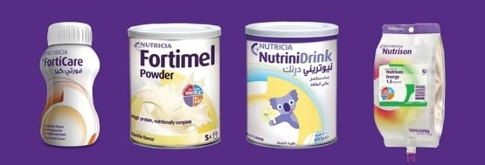 Một số sản phẩm dinh dưỡng của Nutricia.