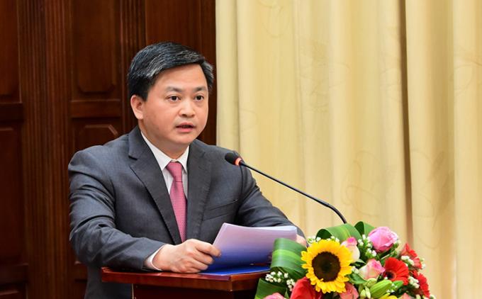 Chủ tịch HĐQT VietinBank Lê Đức Thọ phát biểu tại Hội nghị do Thủ tướng Chính phủ chủ trì.