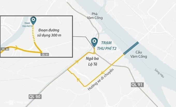 Vị trí trạm BOT T2 trên quốc lộ 91. Ảnh: Thanh Huyền