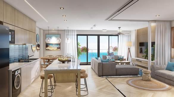 Mỗi căn hộ như một resort thu nhỏ với lối kiến trúc mở vừa tạo sự thông thoáng, vừa tận dụng ánh sáng tự nhiên.