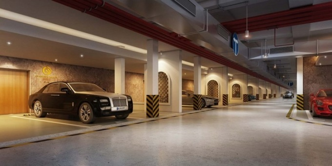 Phối cảnh hầm để xe riêng tại dự án.