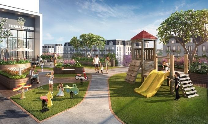Phối cảnh không gian vui chơi cho trẻ tại The Terra An Hưng.