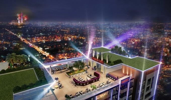 Phối cảnh quán bar và nhà hàng trên đỉnh tòa nhà, một điểm nhấn của dự án Charm City