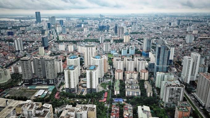 Thị trường căn hộ Hà Nội nhìn từ trên cao. Ảnh: Giang Huy.
