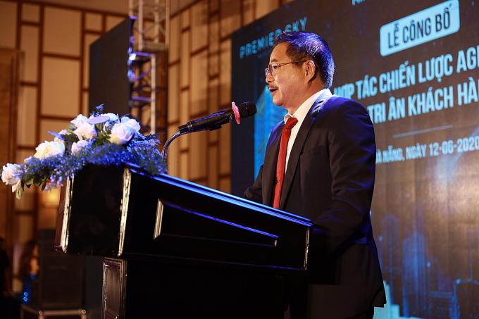 Ông Trần Ngọc Ân, Giám đốc Agribank chi nhánh thành phố Đà Nẵng phát biểu tại buổi ký kết.