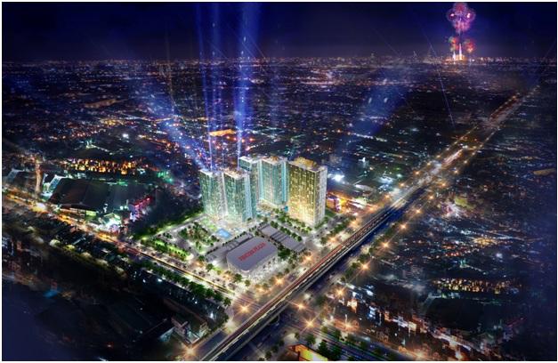 Phối cảnh Charm City, dự án có vị trí thuận lợi, kết nối với các tuyến giao thông huyết mạch trong khu vực.