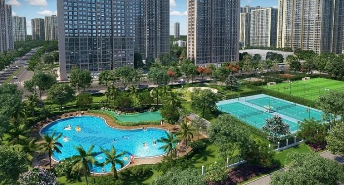Phối cảnh hồ bơi và tổ hợp các sân thể thao liền kề tòa tháp S1.07 tại dự án Vinhomes Ocean Park.