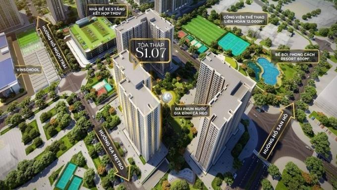 Phối cảnh vị trí tòa tháp S1.07 và các tiện ích hiện đại.