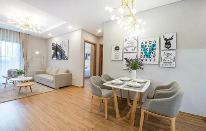 Phòng khách căn hộ mẫu 2 phòng ngủ tại toà Central Garden.