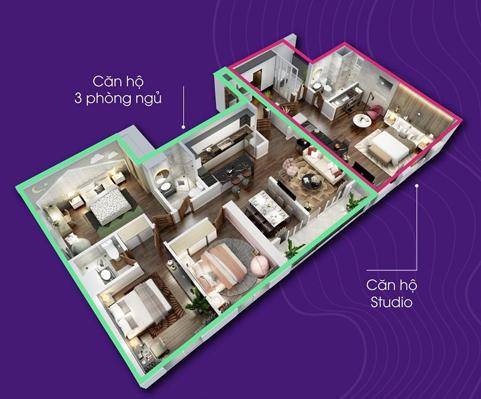 Phối cảnh hai không gian sống riêng tư tại căn Dual Key thuộc dự án The Terra - An Hưng.