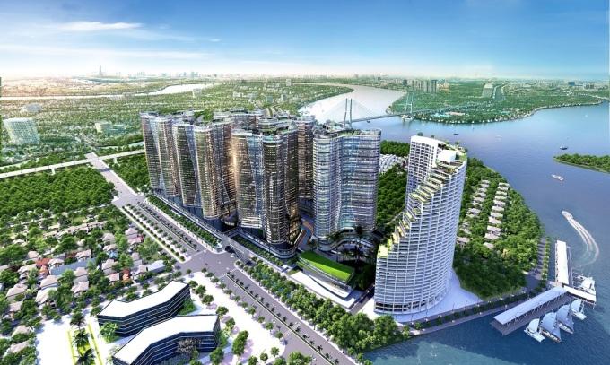 Phối cảnh tổng thể dự án Sunshine Diamond River trên đường Đào Trí hướng ra sông Sài Gòn.