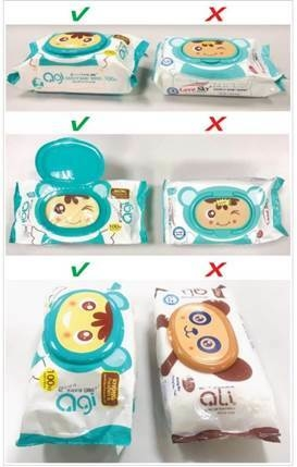 Hình ảnh sản phẩm khăn ướt AGI (trái) và hình ảnh sản phẩm làm giả tương tự (phải).