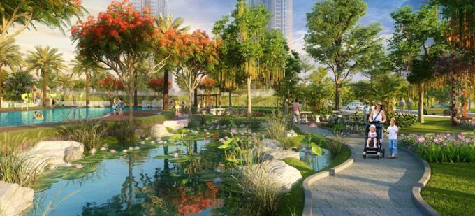 Không gian sống xanh an lành tại Imperia Smart City.