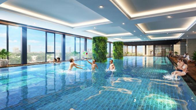 Bể bơi rộng 422 m2 nội khu dự án The Terra - An Hưng