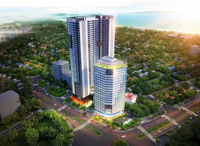 Phối cảnh tổng thể dự án Grand Center Quy Nhon tại trung tâm thành phố biển Quy Nhơn, tỉnh Bình Định.