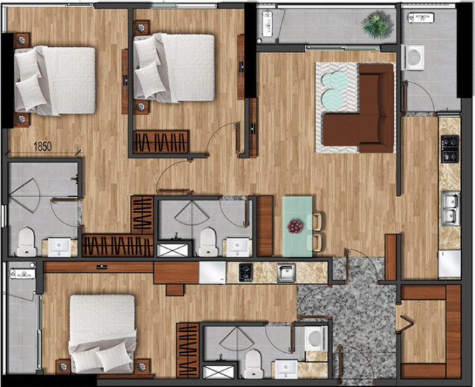 Các căn hộ Flora phiên bản giới hạn Dual Key phù hợp cho cả gia đình đa thế hệ để ở hay đầu tư kinh doanh cho thuê homestay, co-living space.