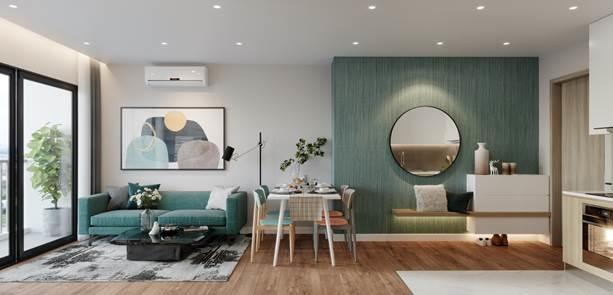 Không gian sống hiện đại, tinh tế trong căn hộ.