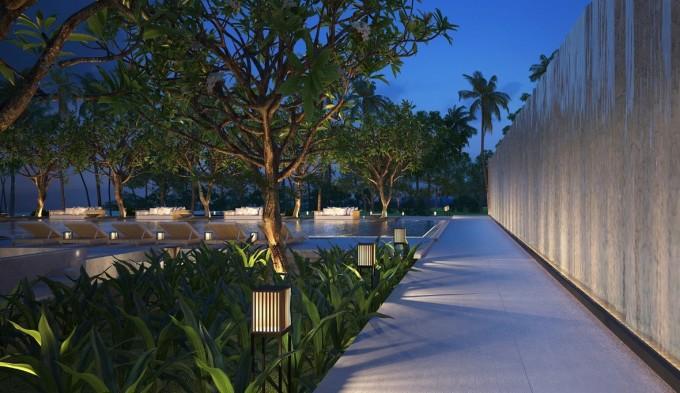 Thiết kế ánh sáng cảnh quan hồ bơi.