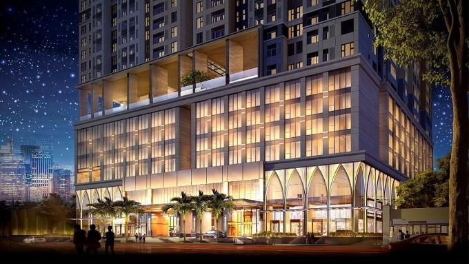 Phối cảnh khách sạn 5 sao quốc tế Avani Saigon do Tập đoàn Khách sạn Minor quản lý, trong khu căn hộ The Grand Manhattan (quận 1, TP HCM).