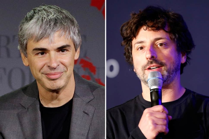 Larry Page (trái) và Sergey Brin (phải). Ảnh: AP, Reuters