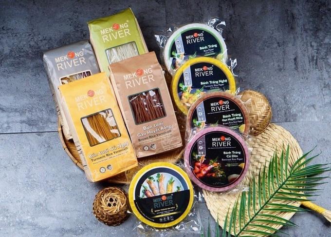 Các dòng sản phẩm bún, bánh tráng đa dạng màu sắc của Mekong River.