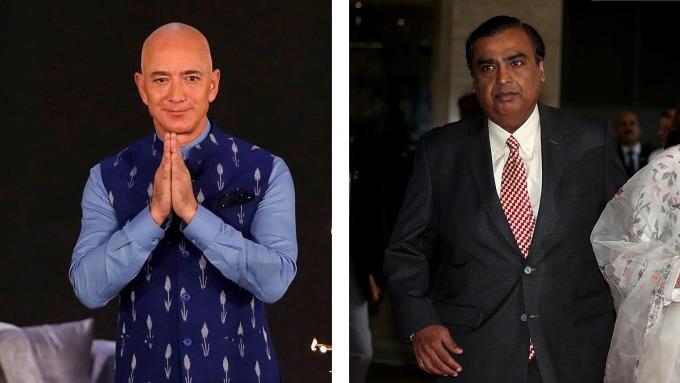 Tỷ phú Jeff Bezos (bên trái) và tỷ phú Mukesh Ambani. Ảnh: Reuters