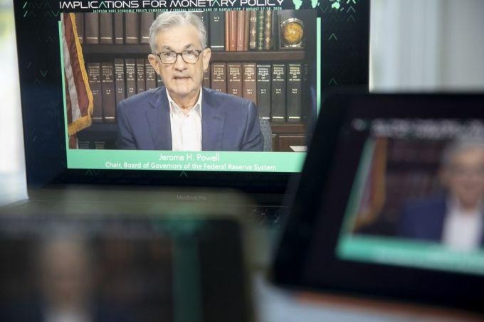 Chủ tịch Fed Jerome Powell trong hội nghị trực tuyến hôm qua: Ảnh: Bloomberg.