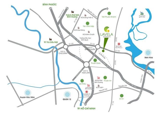Các hướng kết nối từ khu vực dự án Lavela Garden, Bình Chuẩn, Thành phố Thuận An.
