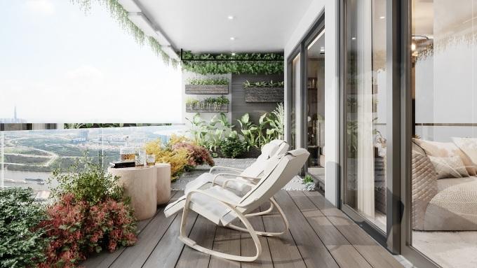 Mỗi căn hộ tại Sunshine Horizon được tặng gói thiết kế và thi công vườn xanh tại logia. Ảnh phối cảnh: Sunshine Group.