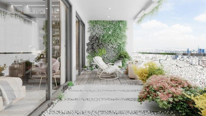 Logia tại các căn hộ Sunshine Horizon được thiết kế hiện đại, thoáng rộng và nhiều mảng xanh. Ảnh phối cảnh: Sunshine Group.