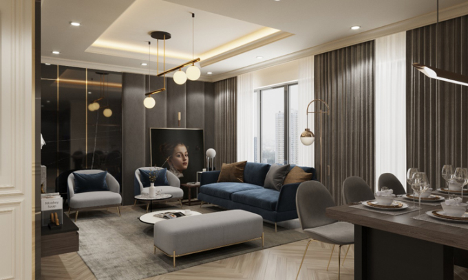 Phối cảnh một căn hộ Queen với 3 mặt thoáng.