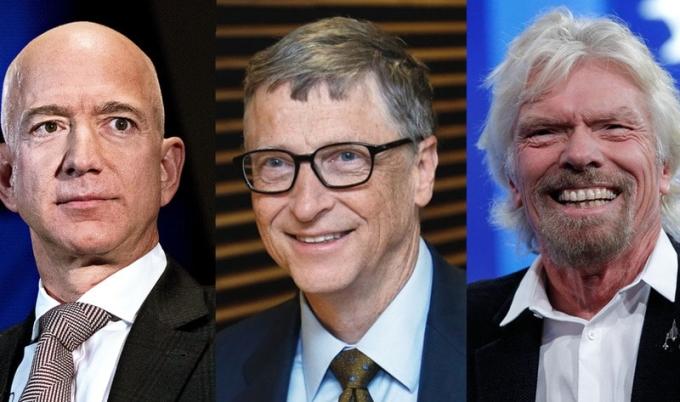 Jeff Bezos, Bill Gates và Richard Branson hiện nằm trong nhóm giàu nhất thế giới. Ảnh: Vegnews