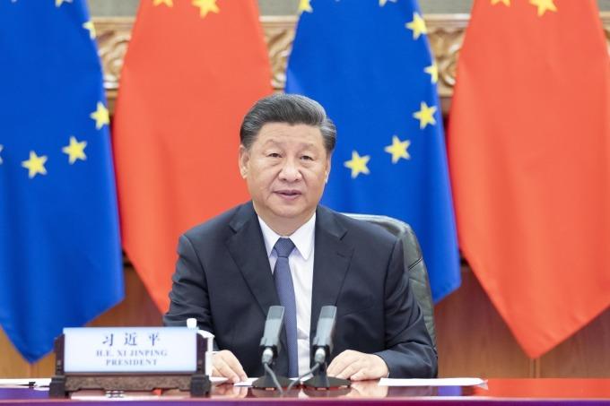 Chủ tịch Trung Quốc Tập Cận Bình tại buổi hội nghị trực tuyến với lãnh đạo EU hôm 14/9. Ảnh: Xinhua