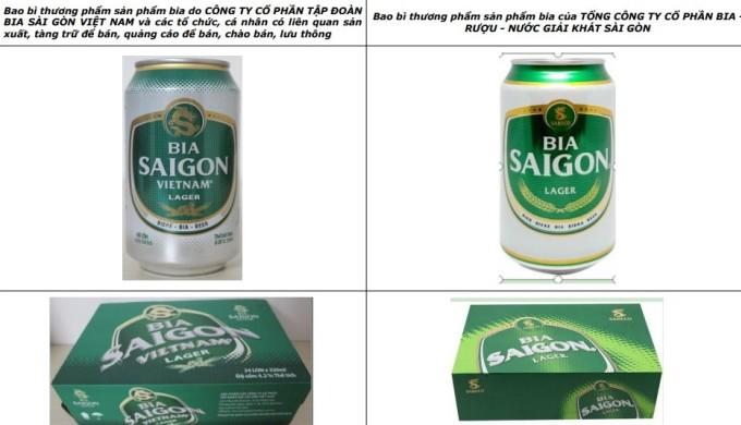 Nhãn hiệu sản phẩm, kiểu dáng của BIA SAIGON VIETNAM  na ná Sabeco. Ảnh: Việt Dũng.
