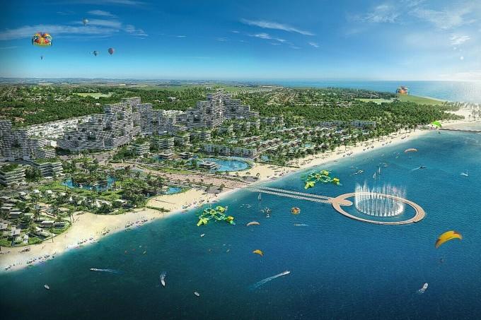 Phối cảnh tổng thể tổ hợp đô thị nghỉ dưỡng và thể thao biển Thanh Long Bay tại Mũi Kê Gà. Ảnh: Nam Group.