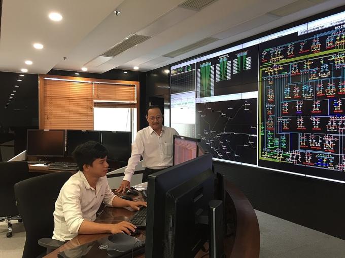 Trung tâm điều khiển hệ thống điện từ xa của EVN HCMC. Ảnh: EVN HCMC.