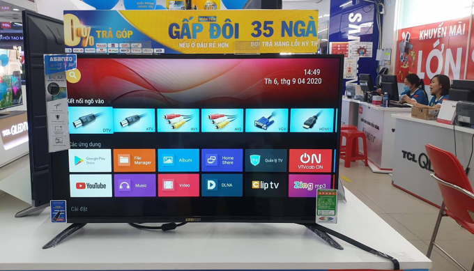 TV Asanzo tại một siêu thị điện máy ở TP HCM.