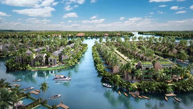 Phối cảnh quần thể biệt thự sinh thái nổi với bến du thuyền tại gia Casamia tại Hội An.