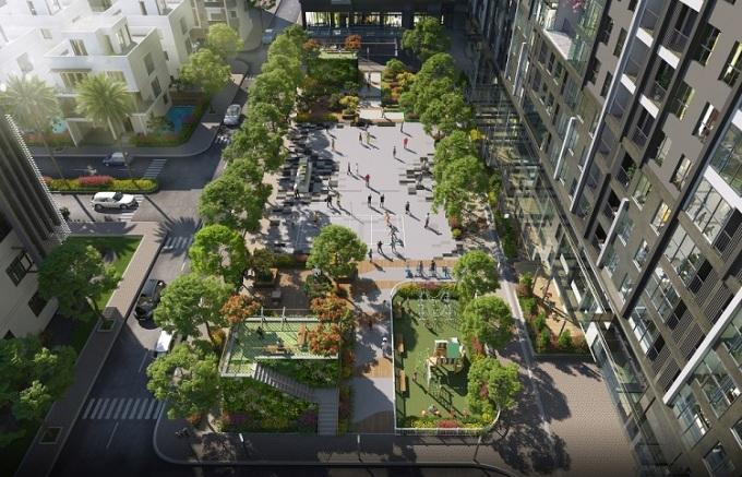 Phối cảnh quảng trường rộng đến 1.600m2 tại dự án.