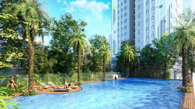Phối cảnh hồ bơi tại một dự án căn hộ.